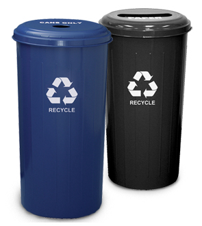 Model 10/1DTDB | Tall 20 Gallon Round Recycling Waste Receptacle