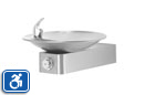 Haws 1001 | Wall Mounted Drinking Fountain with Satin Stainless Steel Bowl on Square Arm | ADA Accessible