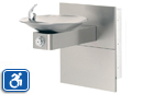 Haws 1001MS | Wall Mounted ADA Drinking Fountain with Satin Stainless Steel Bowl on Square Arm and ADA Access Panels