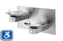 Haws 1011 | HiLo ADA Drinking Fountain with Two Satin Stainless Steel Bowls on Square Arms and Back Panel