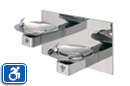 Haws 1011HPS | HiLo ADA Drinking Fountain with Two High Polish Stainless Steel Bowls on Square Arms and Back Panel