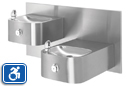 Haws 1119.14 | Wall Mount Hi-Lo 14 Gauge Stainless Steel ADA Drinking Fountain with Back Panel