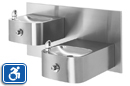 Haws 1119FR | Freeze Resistant Wall Mount Steel Dual Height ADA Drinking Fountain with Back Panel