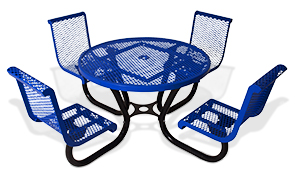 Model 230-RDVC46 | Classic Style Round Contour Table Diamond Pattern with Seats