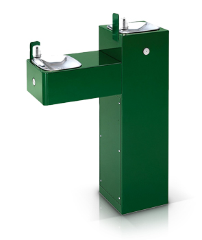 Model 3300 | Dual Height Outdoor ADA Drinking Fountain on Square Pedestal with Custom Color Options