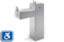 Haws 3300G | Dual Height Outdoor ADA Drinking Fountain on Galvanized Square Pedestal