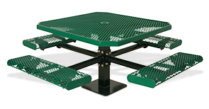 Model 338S-OVR | Classic Style Octagon Picnic Table Diamond Rolled Edges with Pedestal Frame