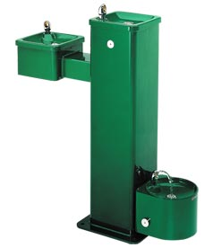 Model 3500D | Steel Outdoor Drinking Fountain on Dual Height Square Pedestal with Pet Fountain