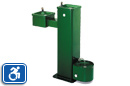 Haws 3500D | Steel Outdoor Drinking Fountain on Square Pedestal | Dual Height | Pet Fountain