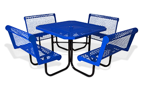 Model 358-OVC | Classic Style Octagon Steel Picnic Table Diamond Pattern with Capri Seats