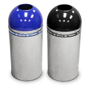 Models 415DT-44R-BL & 415DT-44R-BK | Open Top Dome Recycling Containers with Chrome Base (Blue/Chrome) (Black/Chrome)