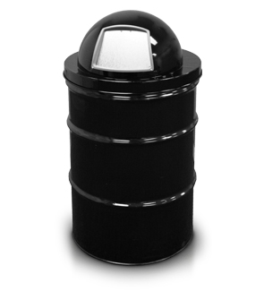 Model 5555BK | Dome Top Lid Shown with 55 Gallon Drum (Black)