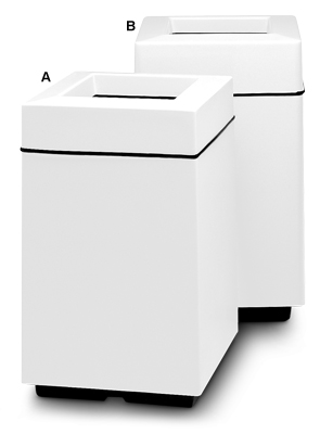 25 and 30 Gallon Square Fibergalss Trash Receptacles with Top Trash Disposal Openings (White)