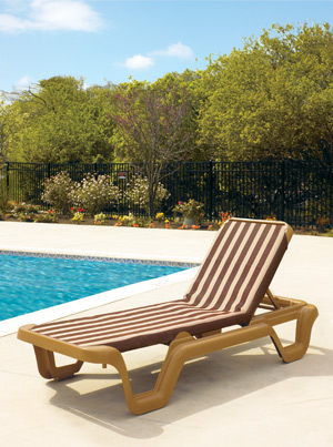 Model 99404099 TW | Marina Sling Chaise Lounge Chairs (Toffee  Stripe/Teakwood)