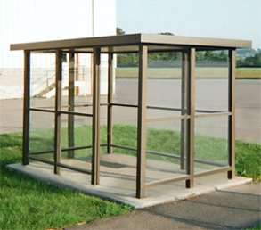 Model ALS510A1FR | Bus Stop Shelters | Flat Roof | Single Opening (Quaker Brown)