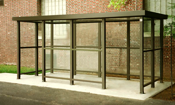 Model ALS515A2FR | Bus Stop Shelter | Flat Roof | Double Opening (Quaker Bronze)