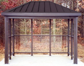 Model ALS68AOH | Hip Roof Bus Shelter (Quaker Bronze)