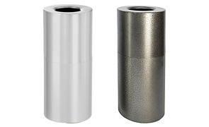 Model AL18-CLR & AL18-SVN | Decorative Aluminum Trash Cans (Silver Vein)