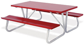 Model AT6-P | 6' Powder-Coated Top Picnic Table