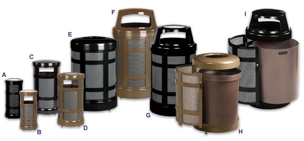 Architek Designer Trash Receptacle Collection