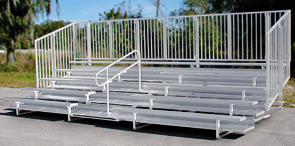 Model BGS-008 | 5 Row Compliant Aluminum Bleacher with Vertical Picket Guardrails