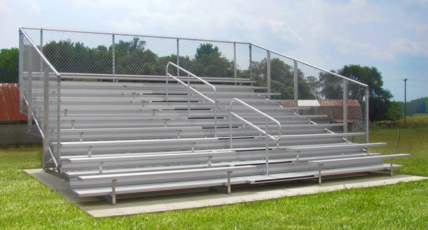 Model BGS-018 | 10 Row Compliant Aluminum Bleacher with Chainlink Guardrails