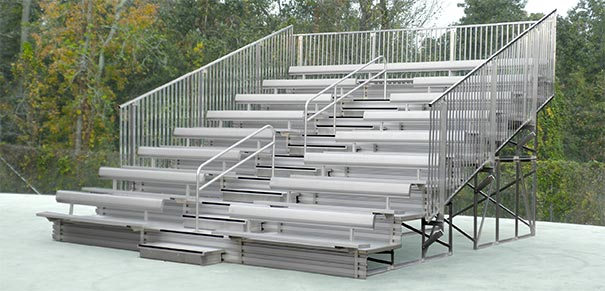 Model BLT-002 | 8 Row | 19' Length | Ultra Bleachers with Seat Backs