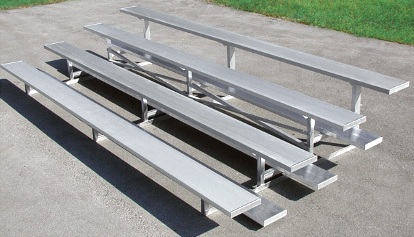 Model BLU-008 | 4 Row Aluminum Bleacher with Single Footboards