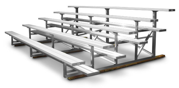 Model BNR-223 | 5 Row Bleacher | Single Footboards with Mud Sills | 15' Length with Aluminum Frame