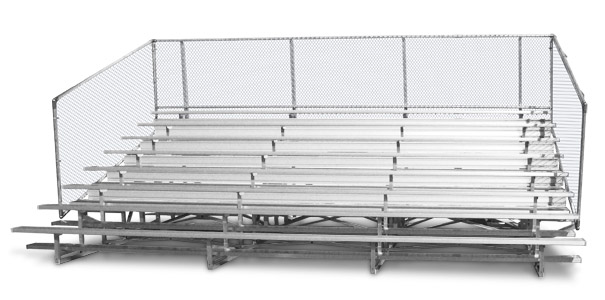 Model BNR-278 | 8 Row Bleacher | Rows 4 & Up Double Footboards | Chainlink Guardrail