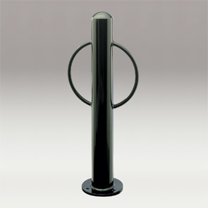Model BOL450-2R-SF-P | Bollard Bike Rack with Round Arms (Black)