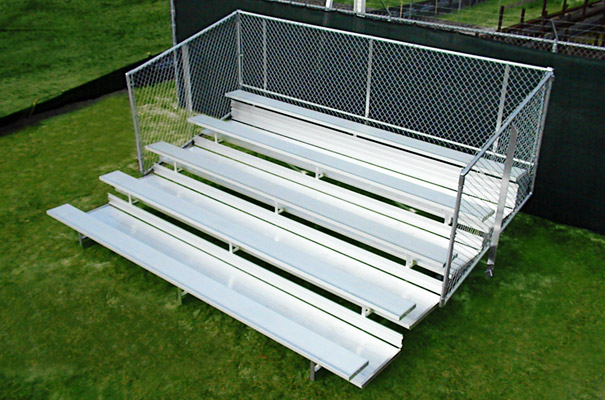 Model BPT-004 | 5 Row | 21' Bleacher with Chainlink Guardrail
