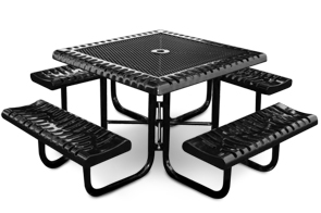Model C46-P | Square Portable Picnic Table | Ribbed Steel Style (Black)