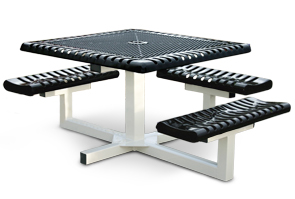 Model C463P-P | Square Pedestal Picnic Tables | Ribbed Steel Style (Black/White)