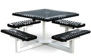 Model C46P-P | Square Pedestal Picnic Tables | Ribbed Steel Style (Black/White)