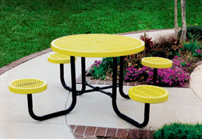 Model CA42RNB-P | Thermoplastic Café Table without Seat Backs (Yellow/Black)