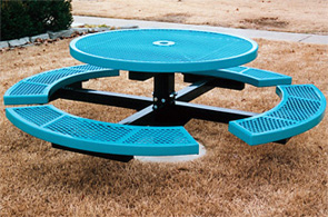 "Model CA46R-I | Thermoplastic 46"" Round In-ground Table (Lt. Blue/Black)"