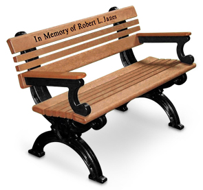 Model CA4WBA-P | 4 Foot Cambridge Recycled Plastic Memorial Park Bench with Optional Custom Engraving (Cedar/Black)