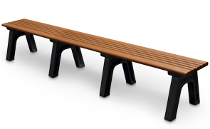 Model CA8NB-P | 8 Foot Cambridge Recycled Plastic Park Bench without Backrest (Cedar/Black)