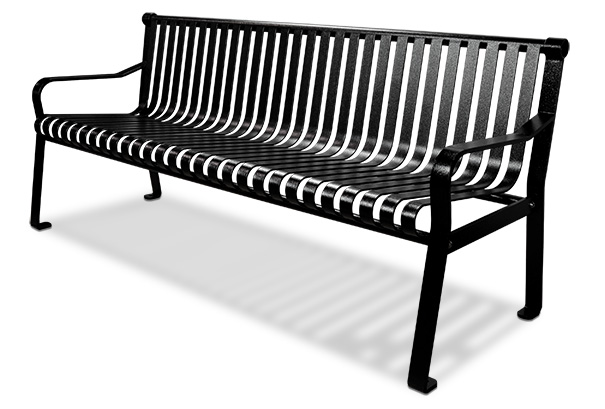 6 Foot Commercial Steel Outdoor Bench with Straight Back