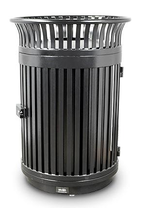 Commercial Steel Flare Top Trash Receptacle with Door