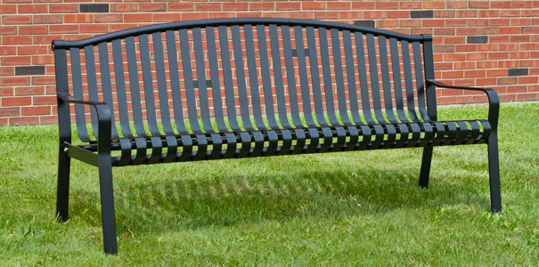 Commercial Park Bench with Curved Back PowderCoated Steel Park