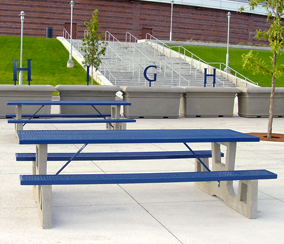 Rectangular Concrete Picnic Tables with Steel Table Top and Seats