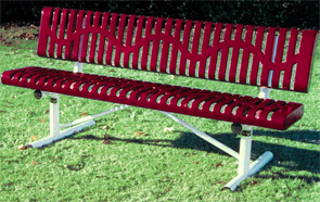 Model CR6WB-P | Portable Thermoplastic Park Benches (Burgundy/White)