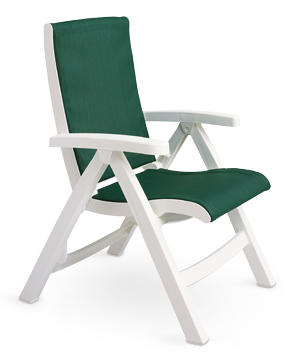Charmant Model CT089004 | Jersey Midback Folding Deck Chair With Attached Sling  (Hunter Green/White