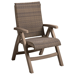 Model CT406181| Java All-Weather Wicker Folding Chair (Moccachino/Taupe Frame)