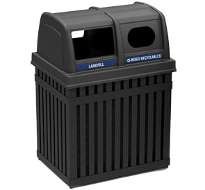 Model DC-72720199 | ArchTec Parkview Trash and Recycling Double Unit Receptacle Combo