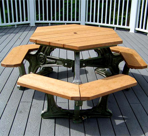 Hexagonal Shaped Plaza Picnic Table Recycled Plastic Belson - Recycled plastic hexagonal picnic table