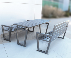 Model DXTS6 | Decora Style Outdoor Picnic Bench Table | Shown With Benches