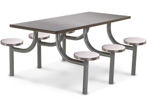 6 rectangular stainless steel cafeteria tables prison furniture